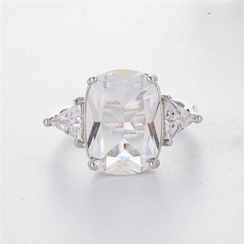 高級白プリンセスカット女性のためのファッションシルバーカラー大スクエアキュービックジルコニアリング婚約ジュエリー L5T018