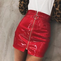 Skirts Time limited Pu Tutu 2018 Spring New Sexy Party Brand High Street Patent Leather Ring Zipper Solid Color Skirt Female