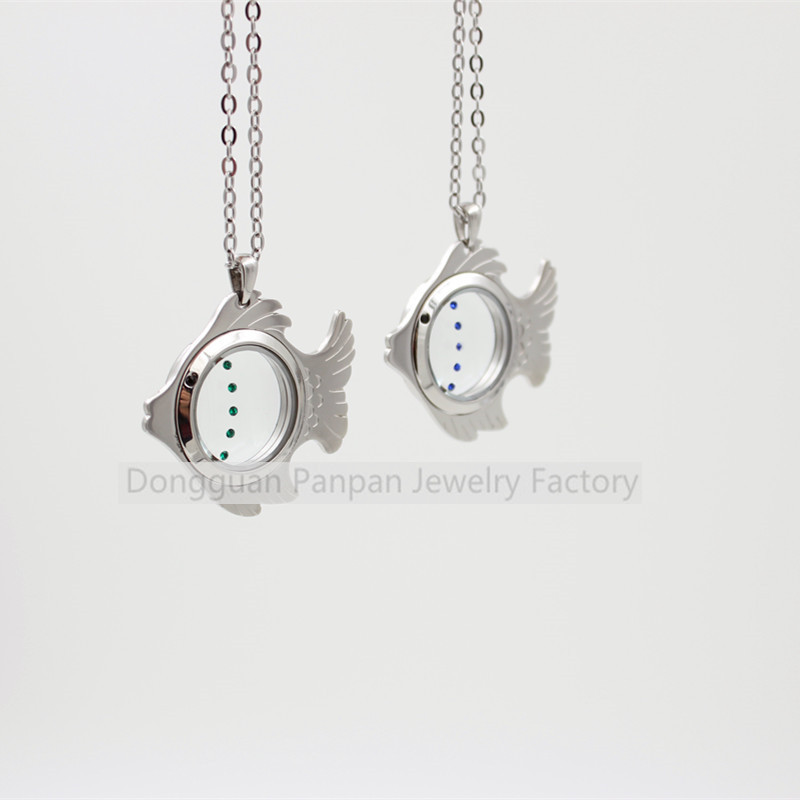 Panpan silver  fish shape magnetic floating locket with crystals (no chain) locket