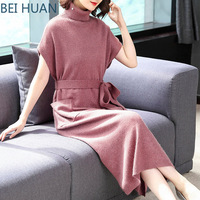 2019 Special Offer Dress Vadim Vestidos Mujer New Fashion High collar Fall Dresses With Slim Waist Knitted With Long Sweaters