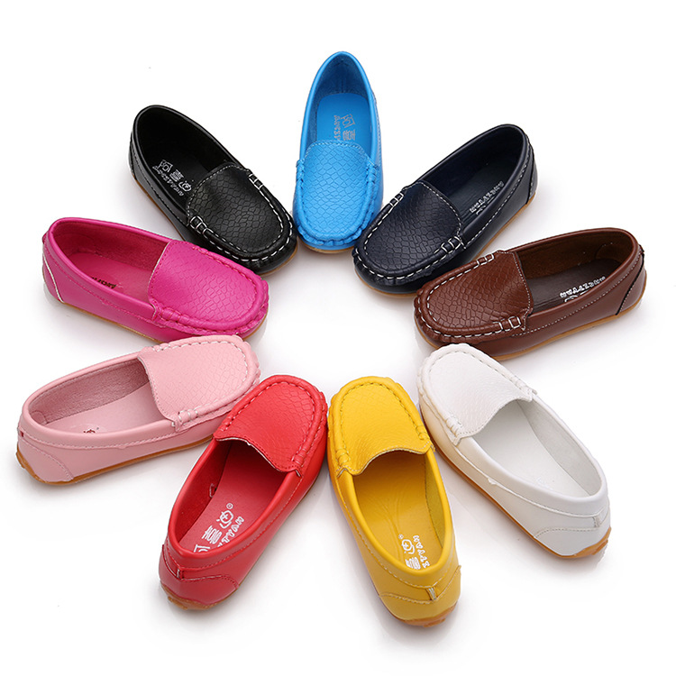 New Children Loafers Shoes Sneakers For Kids Baby Boys Casual Leather Peas Shoes Toddler Girls Soft Bottom Shoes Comfortable