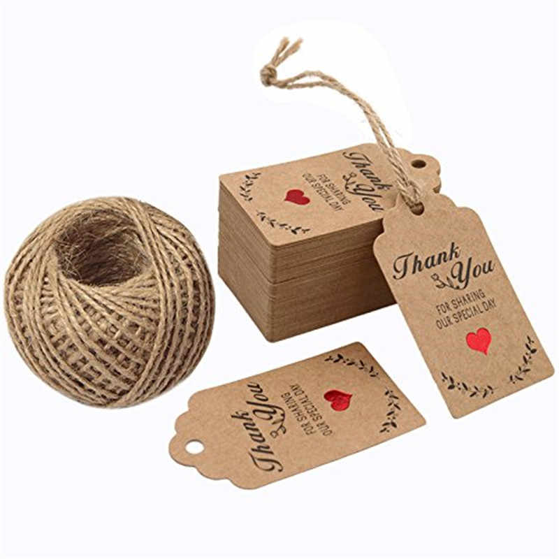 300 Uds. Etiquetas de regalo de recuerdo de boda, etiquetas de precio de manualidades de Papel Kraft para DIY y envoltura de regalo-gracias por compartir nuestro día especial