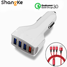 Car Charger 4 USB Port Qualcomm Quick Charge 3.0 USB Charger Mobile Phone Charge for Samsung S8 S7 iPhoneX 8 8Plus XS XR Charger