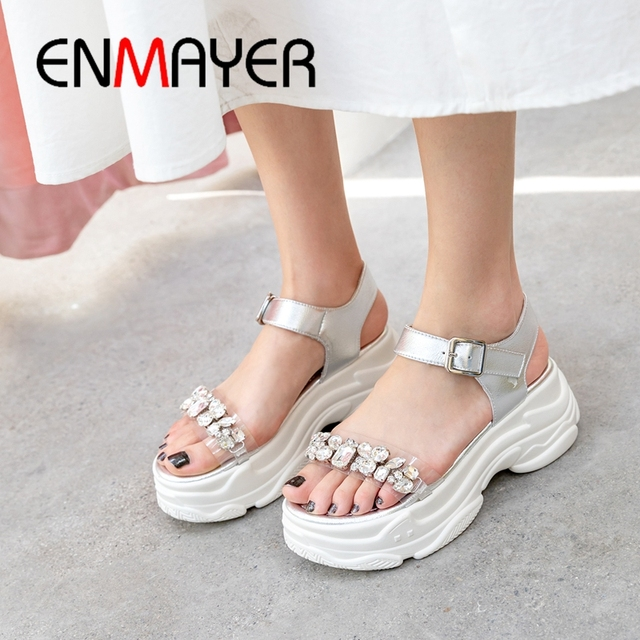 ENMAYER 2019 New Fashion Women High Heel  Gladiator  Shoes Woman  Genuine Leather Casual  Buckle Strap Sandals Size 34-39 LY2044