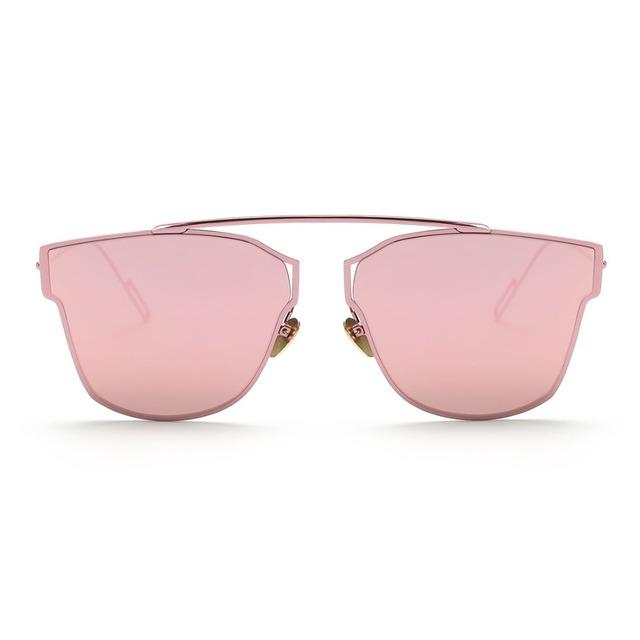 Women's Sunglasses Metal Frame Reflective Coating Mirror Flat Panel Lens