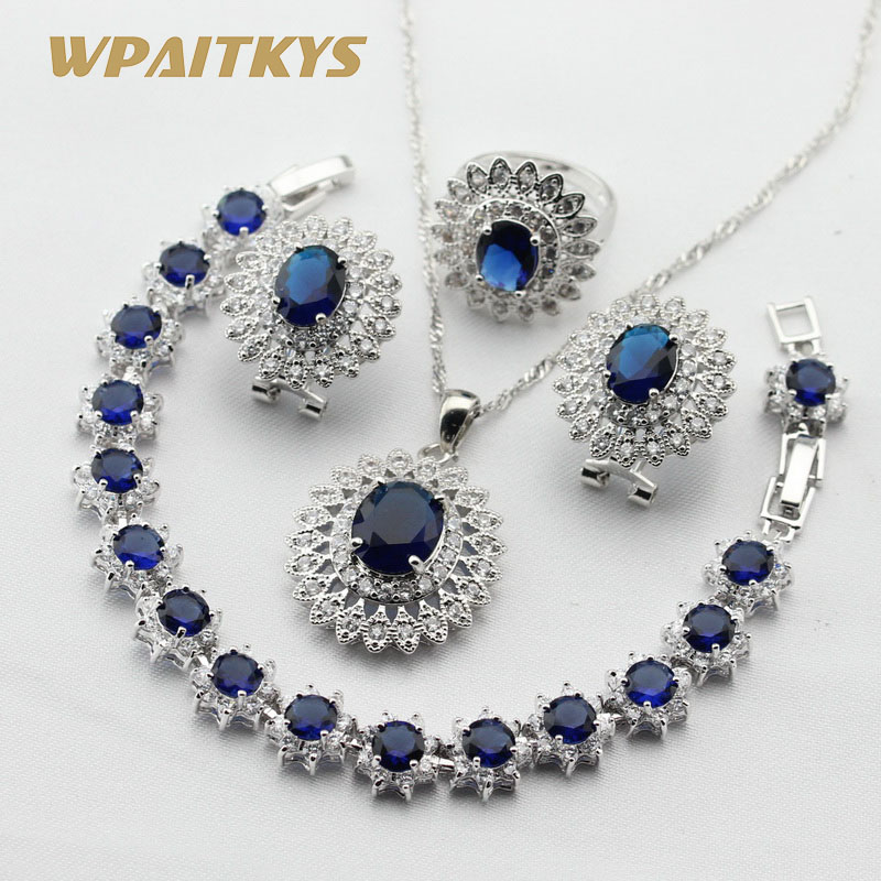 Women Silver Color Jewelry Sets Dark Blue White Cubic Zirconia Necklace Pendant Bracelets Earrings Rings Free Gift Box(China)