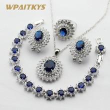 Женский серебряный цвет Ювелирные наборы темно-синий белый кубический цирконий ожерелье кулон Браслеты Серьги Кольца подарочная коробка