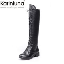 KARINLUNA/Большие размеры 34-43; сапоги до колена; Модные фирменные дизайнерские женские сапоги на платформе с квадратным каблуком и шнуровкой; сезон осень-зима