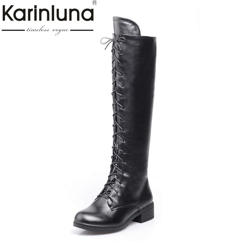 KARINLUNA Big Size 34-43 Knee High Boots Fashion Lace Up Brand Design Square Heels Lady Autumn Winter Platform Shoes Women все цены