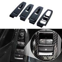 JEAZEA 4 Pcs ABS Carbon Fiber Innen Tür Fenster Lift Taste Schalter Panel Cover Zierleiste Für Subaru Xv cross 2018 LHD|Innenformteile|   -