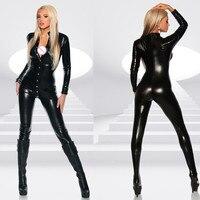 Hot Sexy Women Black Patent Leather Jumpsuit Vinyl Latex Bondage Catsuit Wetlook Leotard Covered Button Bodysuit Clubwear