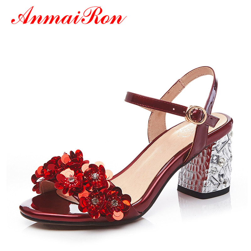 ANMAIRON Summer Buckle Strappy High Heels Sandals Women Bling Flower Shoes Woman Sexy Red Silver Chunky Heels Rhinestone Sandals phyanic bling glitter high heels 2017 silver wedding shoes woman summer platform women sandals sexy casual pumps phy4901