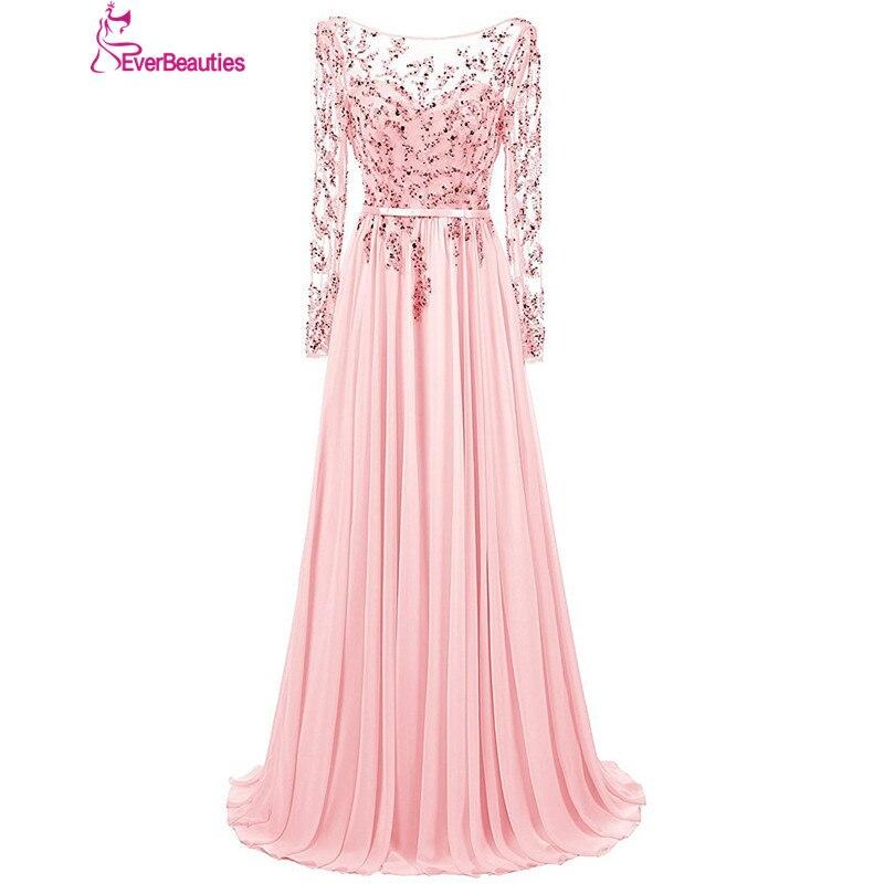 Robe De Soiree   Evening     Dresses   Long 2019 Chiffon with Beaded Long Sleeves Floor-Length Kaftan   Evening   Prom Party   Dresses   Abiye