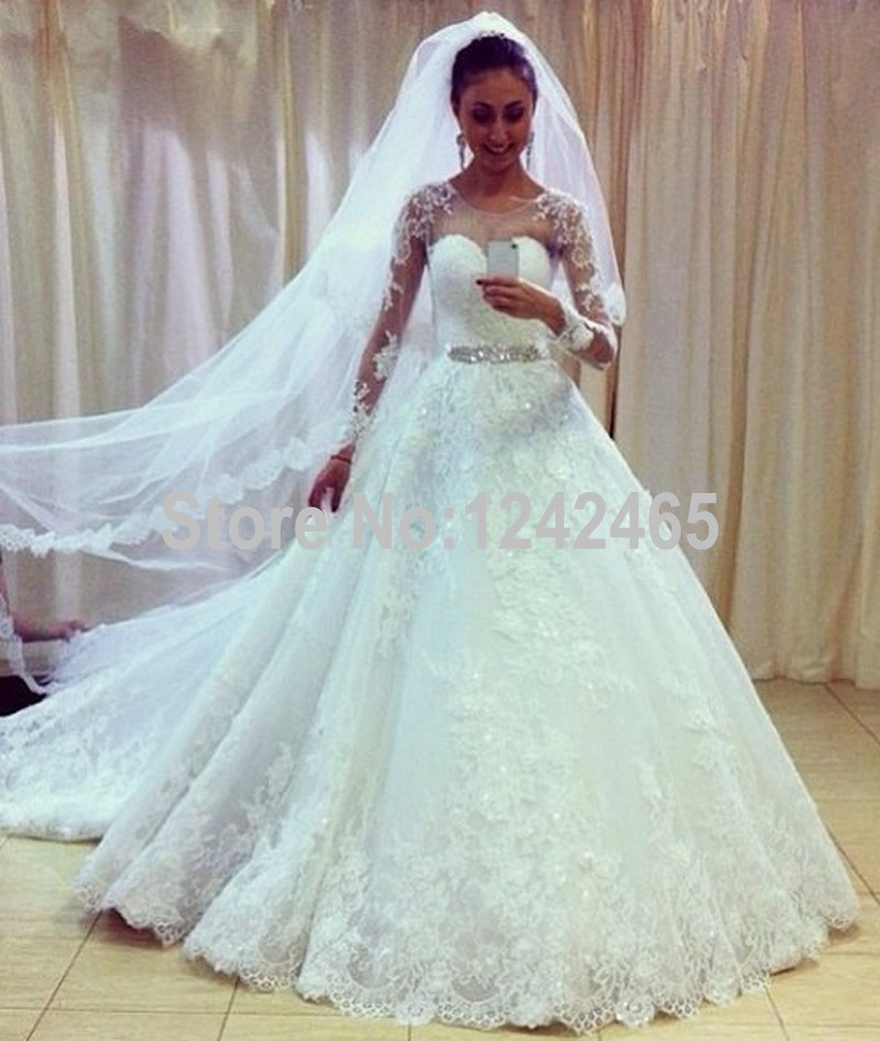 White Puffy Long Sleeves Modest Bridal Dresses Size 4 Sweep Train ...