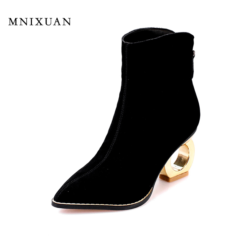 Sexy high heels women boots genuine leather 2017 fashion new winter pointed toe ladies shoes black short handmade ankle boots women ankle boots 2016 round toe autumn shoes booties lace up black and white ladies short 2017 flat fashion female new chinese