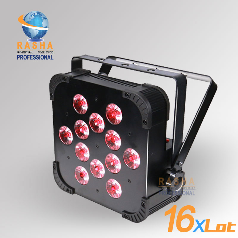 16X Rasha Quad V12-12pcs*10W 4in1 RGBW/RGBA LED Slim Par Profile,LED Flat Par Can,Disco Stage Event Light 2x lot rasha quad factory price 12 10w rgba rgbw 4in1 non wireless led flat par can disco led par light for stage event party