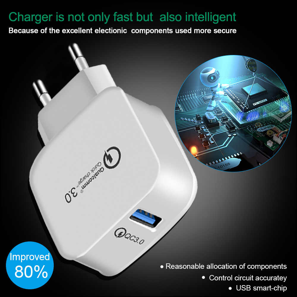 Lieve 18 W Pengisian Cepat 3.0 Uni Eropa Plug Charger Ponsel Cepat Dinding Charger Usb Adaptor untuk Samsung Xiaomi USB charger Telepon
