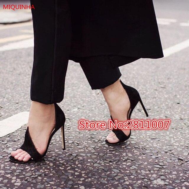 Miquinha 2017 весна взлетно-посадочной полосы стиль черной замши орсе женщины насос peep Toe Поскользнуться На Двухцветный Пламени Кончик Анаконда Сандалии Обувь женщина