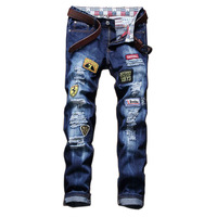 2017 New Europe Fashion Hole Patches Ripped Jeans For Men Casual Slim Straight Designer Denim Jeans Mens Wholesale