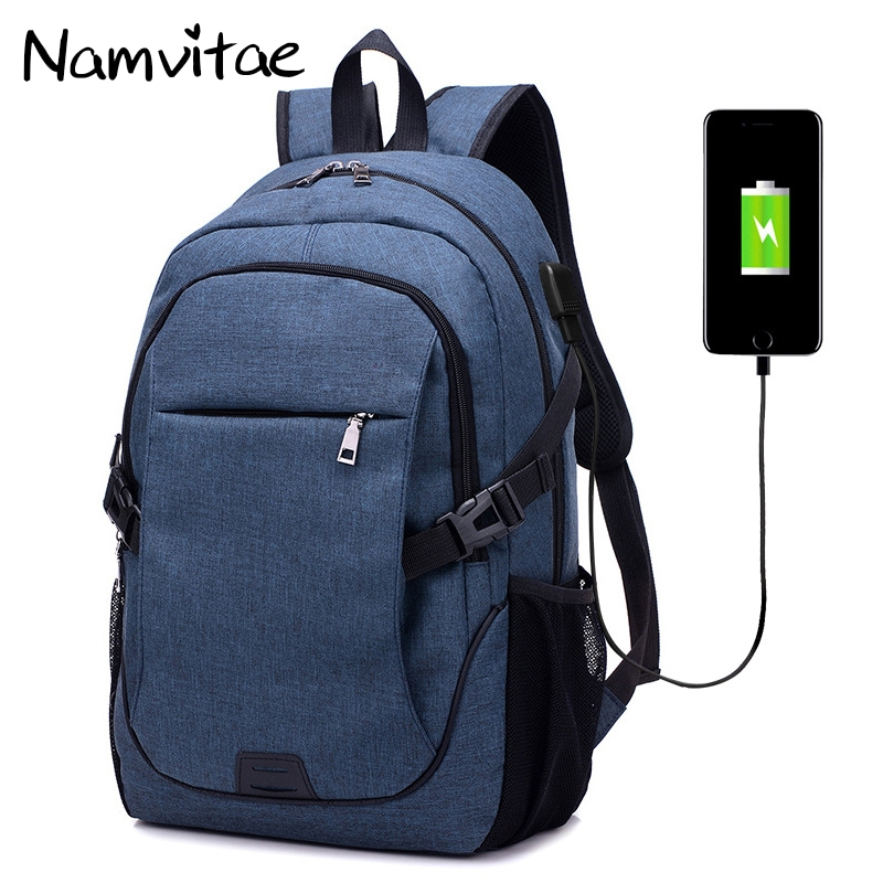 Namvitae Men USB Charging Backpacks Fashion Student 15.6 inch Laptop School Bags for Teenager Multi Function Men Travel Backpack ozuko multi functional men backpack waterproof usb charge computer backpacks 15inch laptop bag creative student school bags 2018