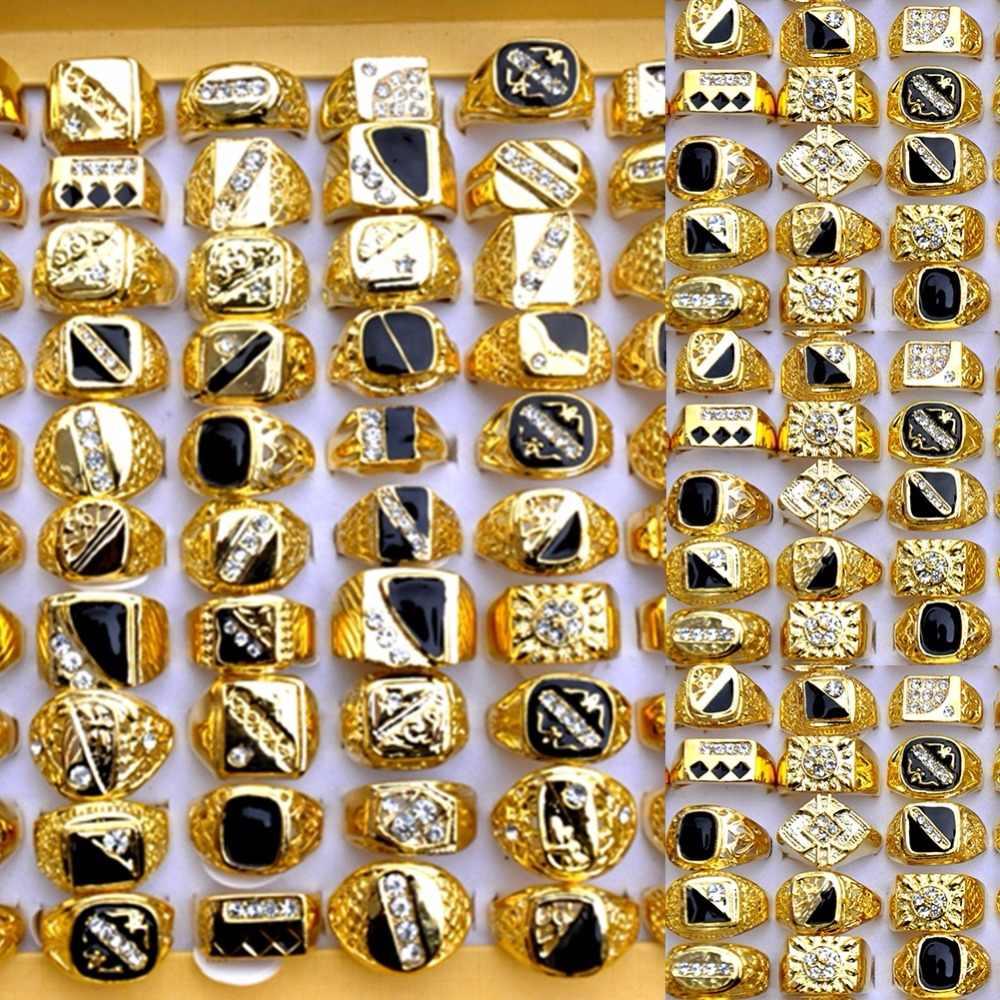 AOMU 10 sztuk/partia Vintage klasyczny złoty kolor kryształu Rhinestone metalowy pierścień człowieka szerokie pierścienie obrączka Party mężczyzn biżuteria