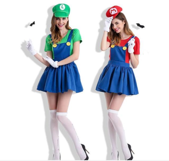 plus size 4XL mario women luigi costume clothing sexy plumber costume mario  bros fantasia super mario bros costumes for adults 7f894136c4d