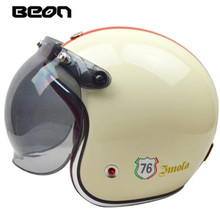BEON 3/4 Open Face Helmet Retro Vintage Motorcycle Helmet German Style Scooter Chopper Cruiser Biker Moto Helmet Bubble Visor недорого