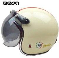 BEON 3/4 Open Face Helmet Retro Vintage Motorcycle Helmet German Style Scooter Chopper Cruiser Biker Moto Helmet Bubble Visor