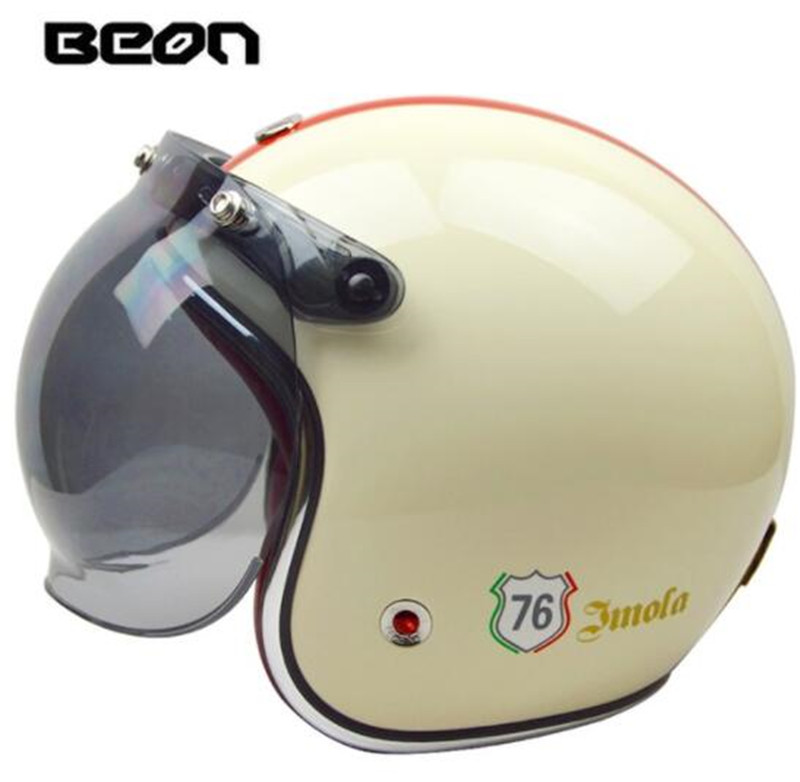 BEON 3/4 casque visage ouvert rétro Vintage casque de Moto Style allemand Scooter Chopper Cruiser Biker Moto casque bulle visière