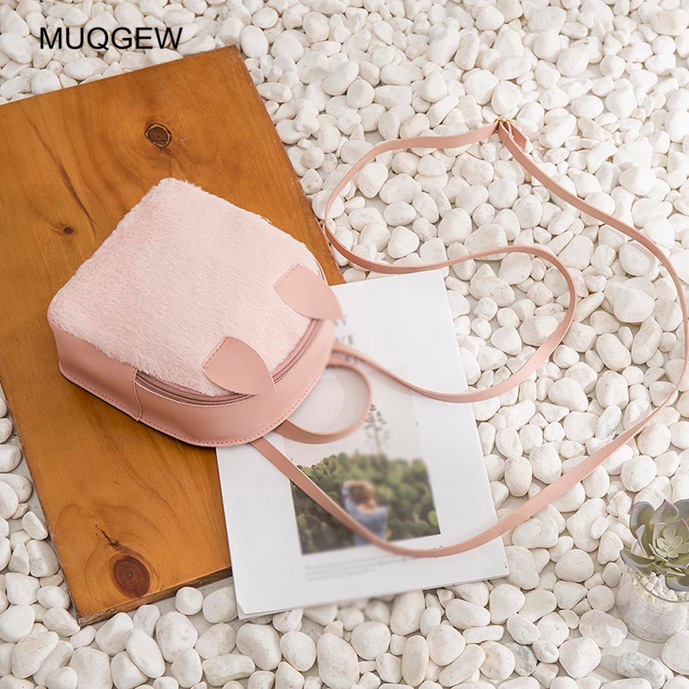 Female Backpack Fashion Casual Women Rabbit Hair Horn Corduroy Shoulder Bag Zipper Solid Shell Type Backpack Mochila Feminina High Quality And Inexpensive Home