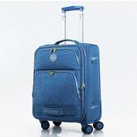 Water wash cloth fabric waterproof travel bag luggage bag universal wheels trolley luggage female,20 24 28inches luggage sets