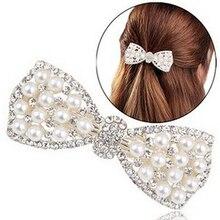 Women Fashion Rhinestone Bow Hair Clip Hairpin Barrette Faux Pearl Hair Accessories