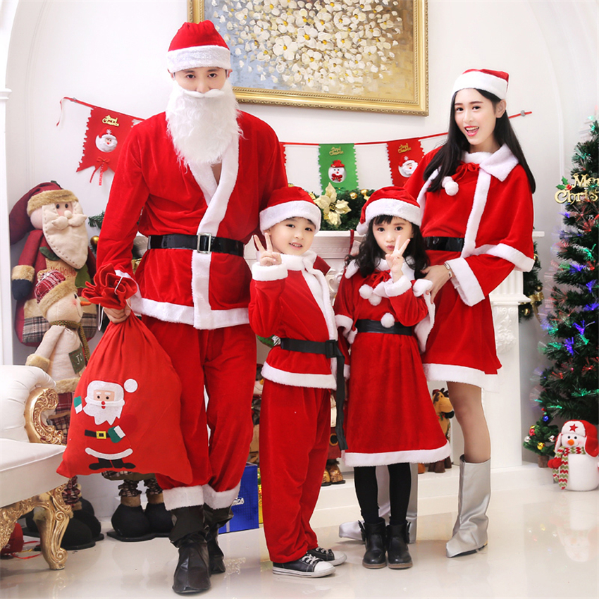 2019 Christmas Costume for Kids Santa Claus Cosplay Clothes Set Boys Girls Party Costumes Xmas Family Matching Outfits