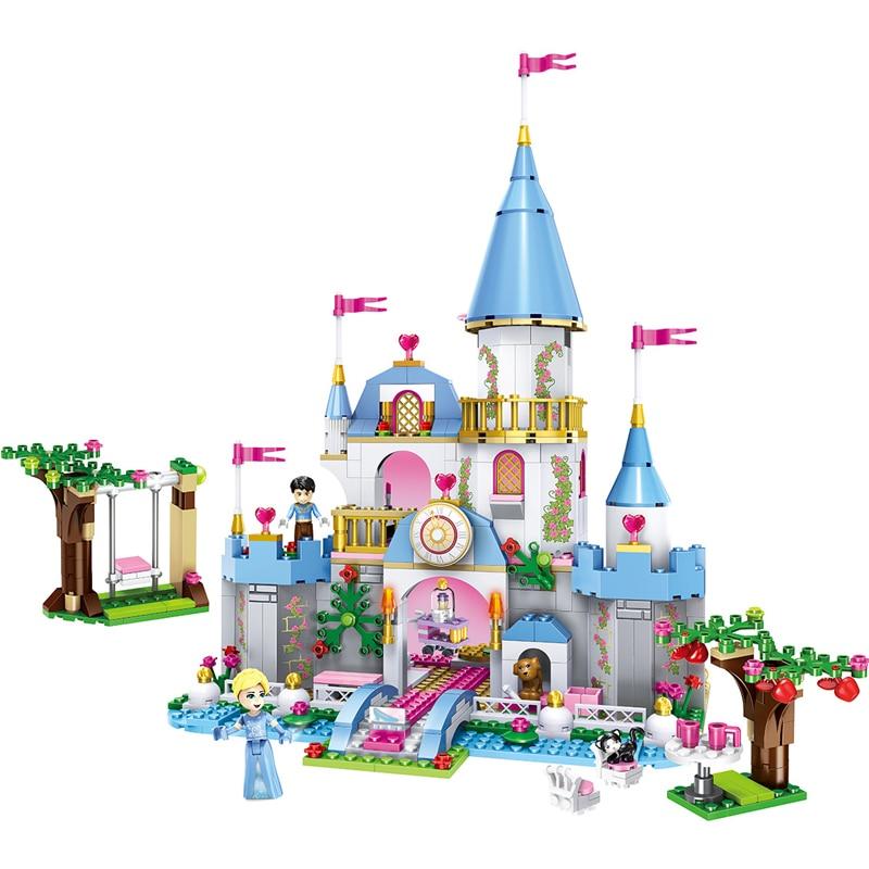 669 sztuk klocki dla dzieci zabawki kompatybilny Legoingly miasto przyjaciele dziewczyny kopciuszek w romantycznym zamku klocki urodziny prezenty w Zestawy modelarskie od Zabawki i hobby na  Grupa 1