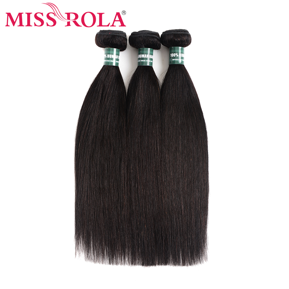 Miss Rola Hair Brazilian Hair Weave Bundles 100% Human Hair Extension Natural Color 1 And 3 Straight Hair Bundles Non-Remy