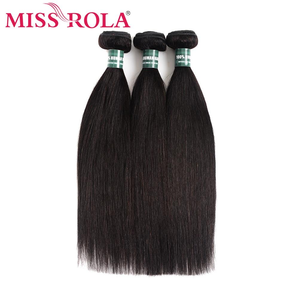 Miss Rola Hair Brazilian Hair Weave Bundles 100% Human Hair Extension Natural Color 1 And 3 Straight Hair Bundles Non-Remy