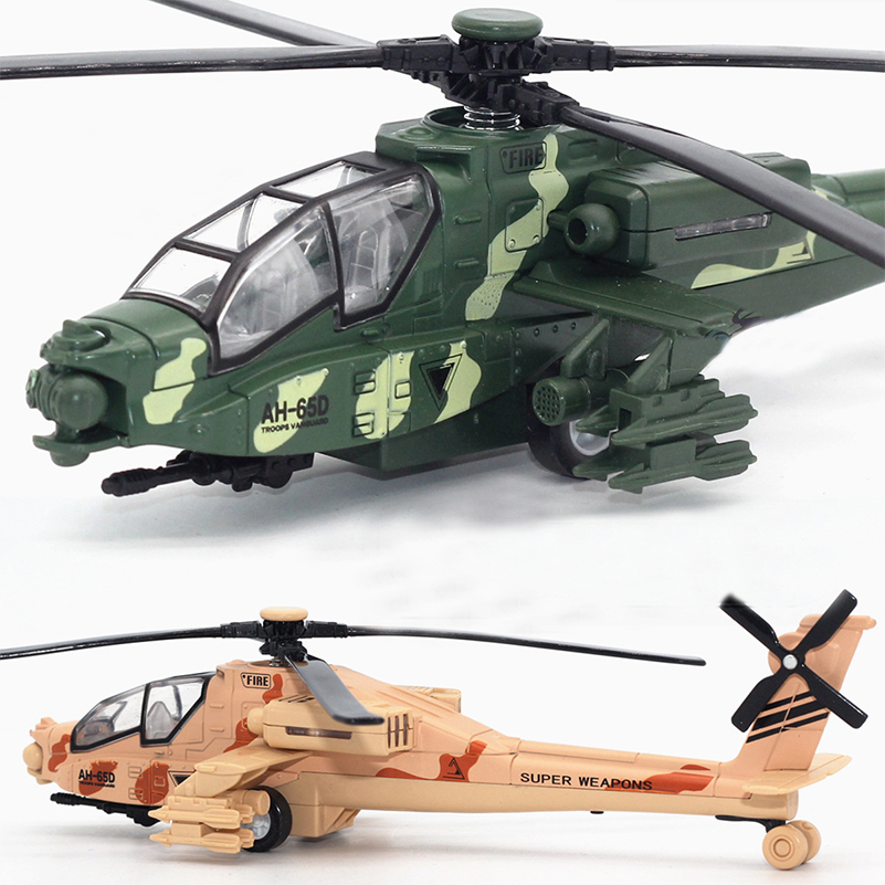 1 Piece Pull Back Armed Apache War Helicopter Toys Fighter Aircraft Model Airplane with Light Military Airplane Toy for Kid Gift military modern wars diecast boeing ah 64 apache helicopter gunships can shoot alloy pull back toy with light