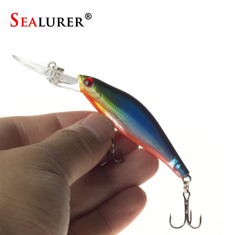 SEALURER 1Pcs Laser Wobblers Fishing Tackle 3D Eyes Sinking Minnow Fishing Lure Crankbait 6# hook 1pcs 6 5 cm 11 8g top water fishing lures 3d eyes hard popper lure crankbait bass wobblers with 6 hooks fishing tackle