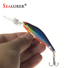 SEALURER 1Pcs  Laser  Wobblers Fishing Tackle 3D Eyes Sinking Minnow Fishing Lure Crankbait 6# hook