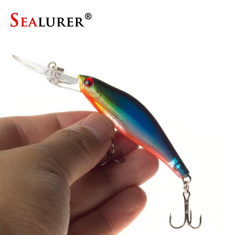 Sealurer 1 шт. лазерной воблеры Рыбалка снасти 3D Средства ухода для век тонущий Минноу Рыбалка приманки Crankbait 6 # крюк