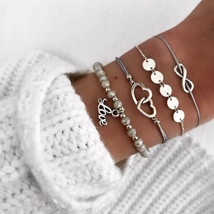 RINHOO Bohemian Handmade Heart Beads Bracelets Sets For Women Fashion Rope Chain Beads Strand Bracelets Bangles Jewelry Gifts