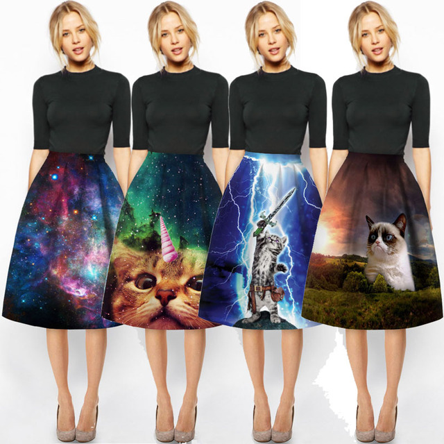 Day Look Charm Lady Casual Multi Scene Print High Waist Pleated Galaxy 3D Cat Midi Skirt High Waist Flared Skirts Womens Saias
