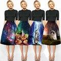 Mirada día Del Encanto de Señora Casual Multi Escena de Impresión de Alta Cintura Plisada galaxy 3d gato midi falda de cintura alta evasé faldas para mujer saias