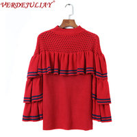 Street Sweaters New Women 2018 Spring Fashion Hollow Out Color Patchwork 3/4 Flare Sleeve Ruffles Knitting Blue / Red Sweater