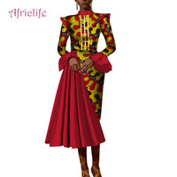 2019 Bazin Riche Ankle length Party Evening Dresses Women African Ruffles Sleeve Dresses for Women African Dresses Print WY4196
