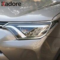 For Toyota RAV4 RAV 4 2016 2017 Chromed Headlight Front Light Lamp Cover Trims Guard  Exterior Accessories Car Styling