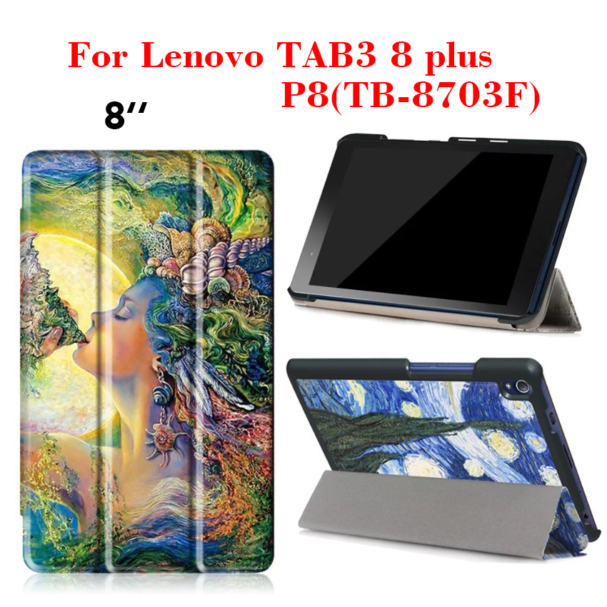 Tab3 8 plus Flip PU Leather Case Slim Colorful Print Tablet Case Cover For Lenovo Tab3 8 plus/P8 TB-8703F Protective Stand Shell new slim folio bracket for lenovo a7 20f standing tablet cover for lenovo tab 2 a7 20 flip protective tablet case