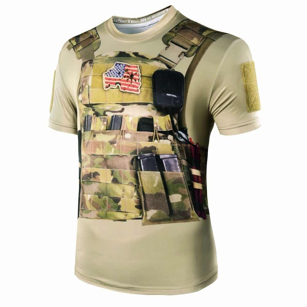 2017 новые высококачественные для мужчин стиль 3D военная камуфляжная футболка Тактический из двери быстросохнущая Охота Одежда