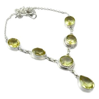 NiaoZaiFei YunZaiKan Nature Green Amethyst Necklace 925 Sterling Silver, 47 cm, MHBNE0011