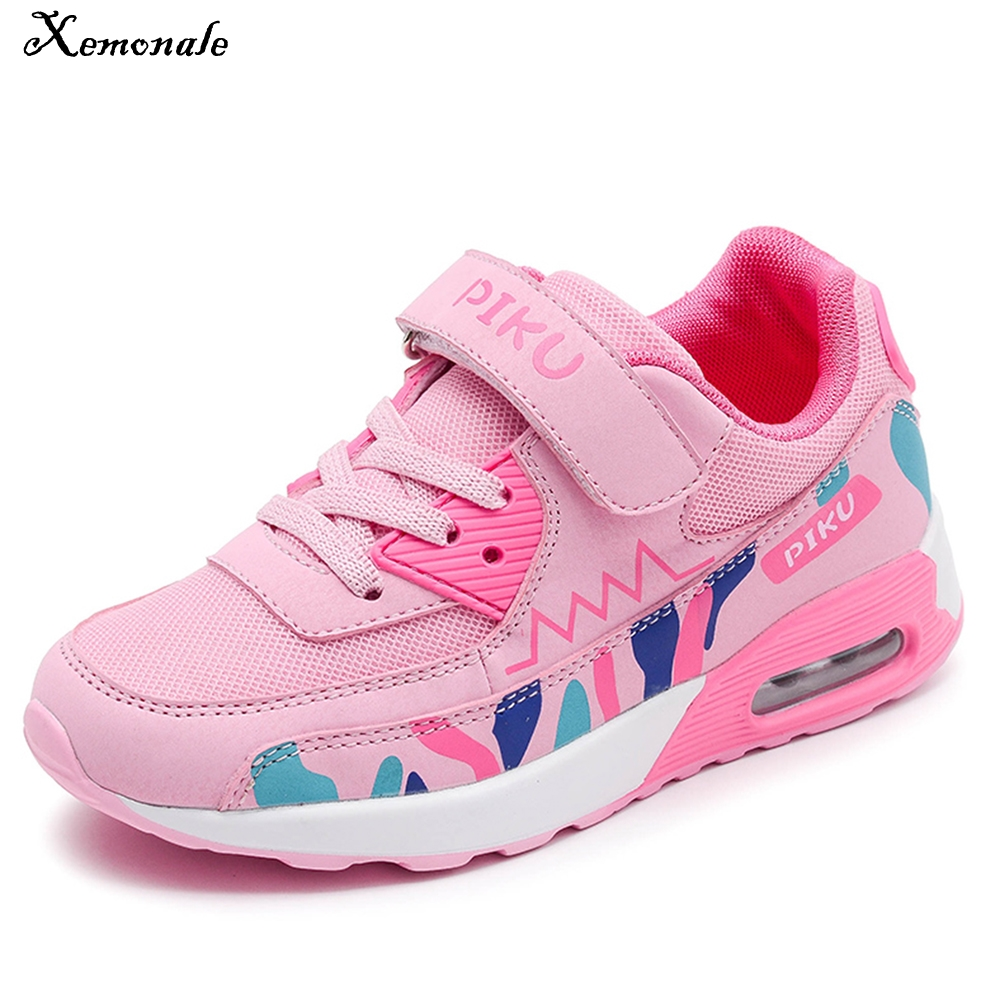 Xemonale Spring Autumn Children Shoes Breathable Mesh Girls Sneakers Running Sport Boys Casual Shoes School Trainer Hook&Loop